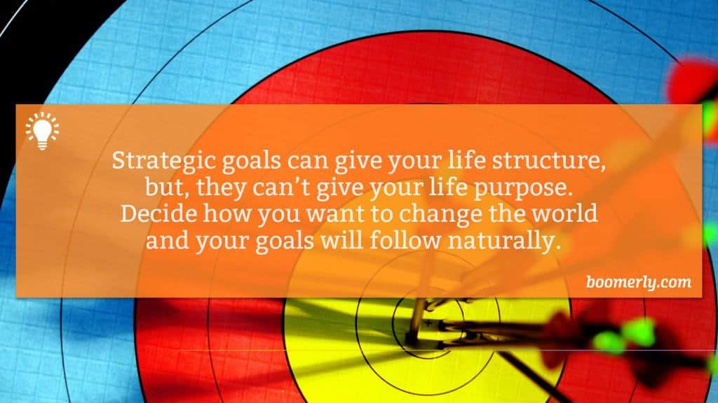 Success and Happiness - Strategic goals can give your life structure, but, they can't give your life purpose. Decide how you want to change the world and your goals will follow naturally.