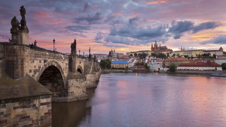 Prague Bridge at Sunset