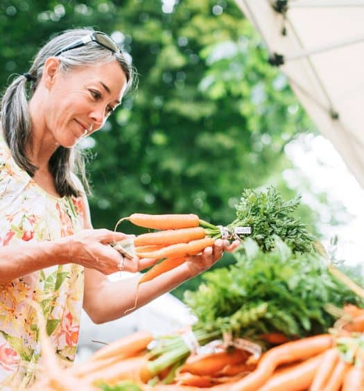 Healthy Living After 60 Woman Buying Healthy Food
