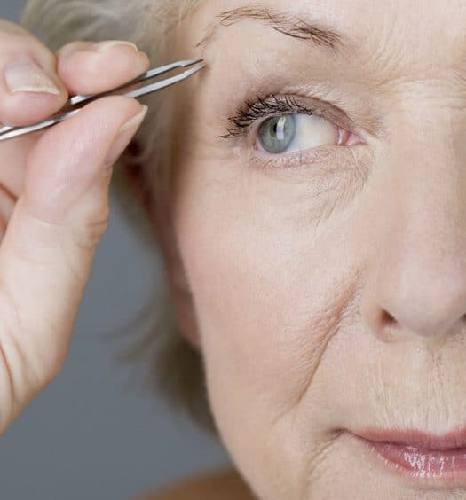 Senior Woman Uneven Eyebrows