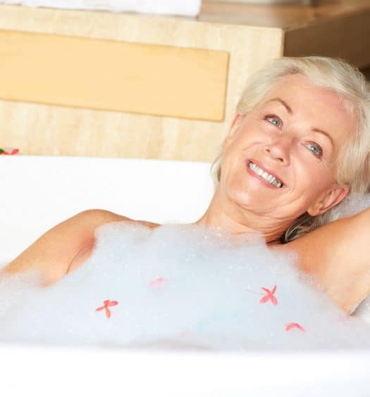 Senior woman holiday guilty pleasures
