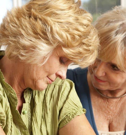 senior woman loss of a sibling