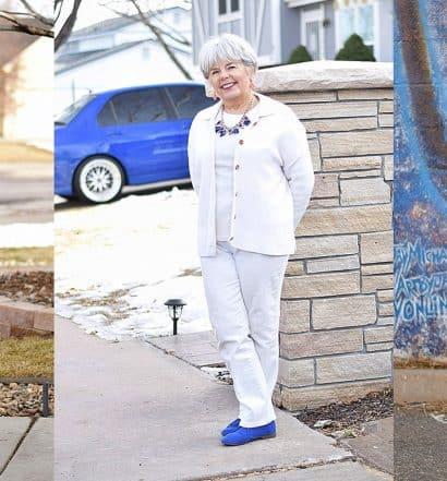 senior woman wearing white