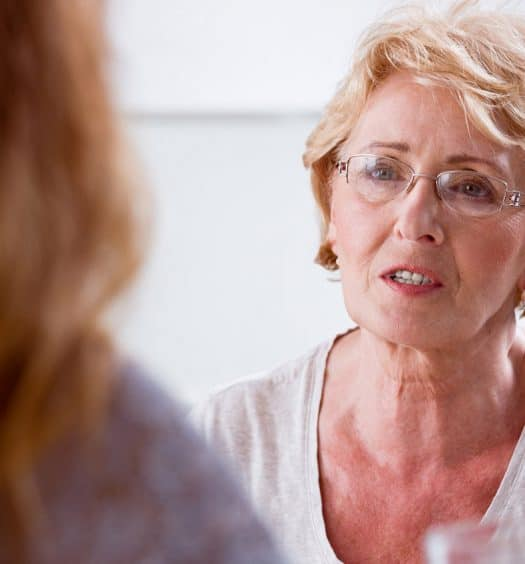 Senior Woman Difficult Conversation