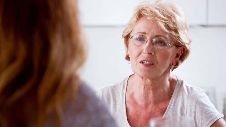 Senior Woman Difficult Conversation