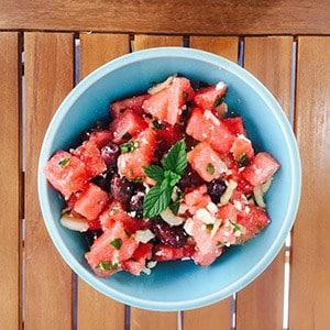 Watermelon Olive Mint Salad